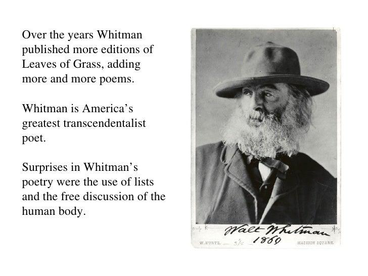 walt whitman and transcendentalism