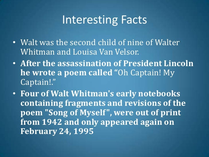 Literary analysis of song of myself 10 by walt whitman