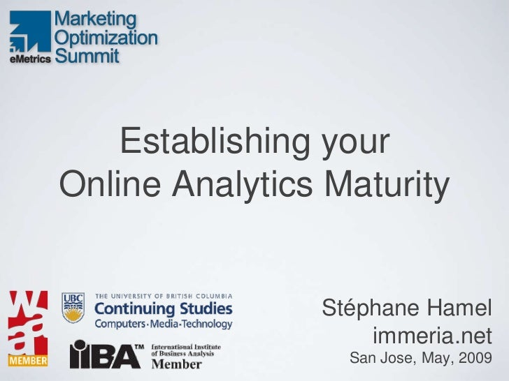 Establishing your Online Analytics Maturity                   Stéphane Hamel                     immeria.net              ...