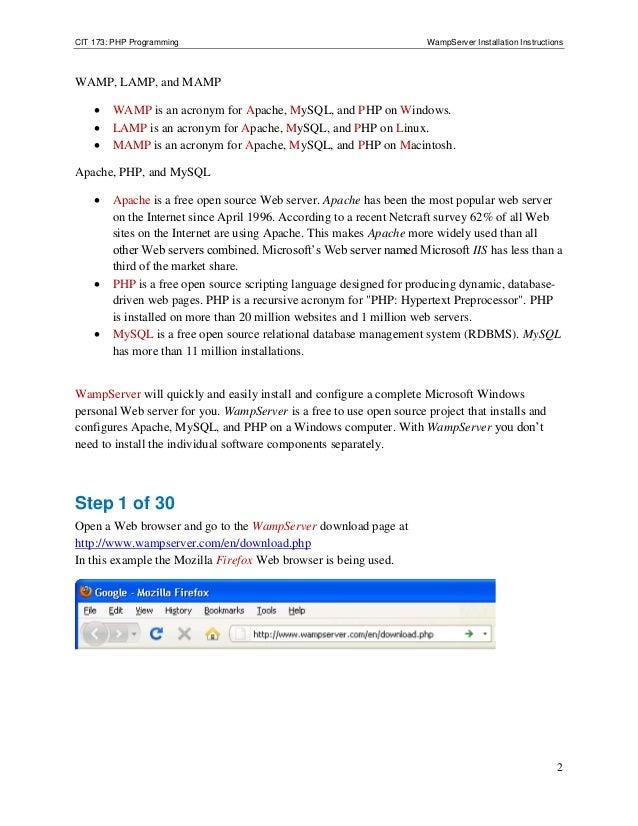 Wampserver install
