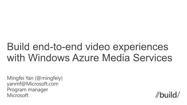 • What is Windows Azure Media Services • Architecture and Features Video-on-demand service • SDK and RESTAPI • New Feature...