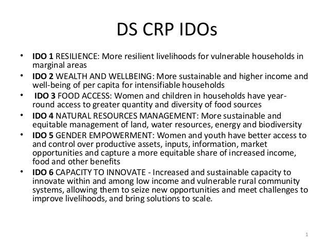 DS CRP IDOs • IDO 1 RESILIENCE: More resilient livelihoods for vulnerable households in marginal areas • IDO 2 WEALTH AND ...