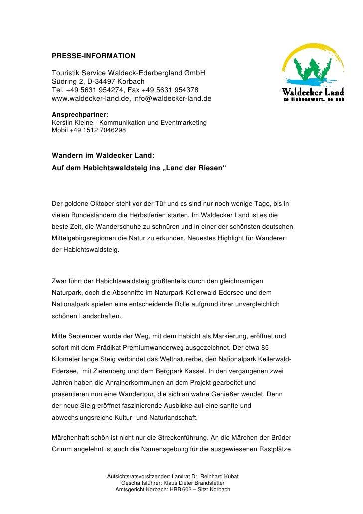 PRESSE-INFORMATIONTouristik Service Waldeck-Ederbergland GmbHSüdring 2, D-34497 KorbachTel. +49 5631 954274, Fax +49 5631 ...