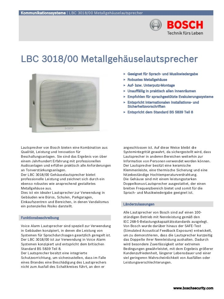 Kommunikationssysteme | LBC 3018/00 MetallgehäuselautsprecherLBC 3018/00 Metallgehäuselautsprecher                        ...