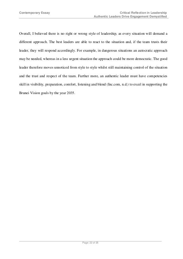critical reflection in leadership authentic leaders drive engagemen  page 21 of 25 22 contemporary essay critical reflection