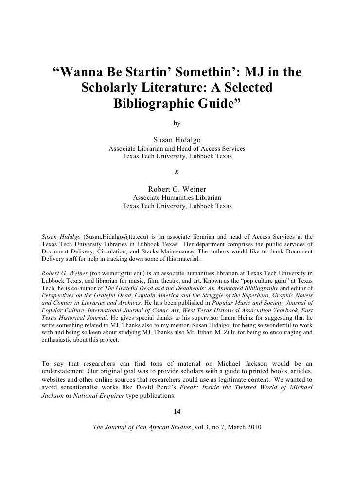 """Wanna Be Startin' Somethin': MJ in the        Scholarly Literature: A Selected             Bibliographic Guide""          ..."