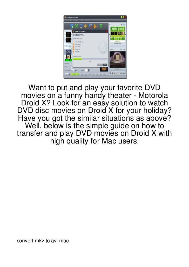 Want to put and play your favorite DVD  movies on a funny handy theater - Motorola  Droid X? Look for an easy solution to ...