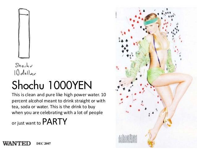 Shochu 1000YENThisiscleanandpurelikehighpowerwater.10This is clean and pure like high power water 10percentalco...