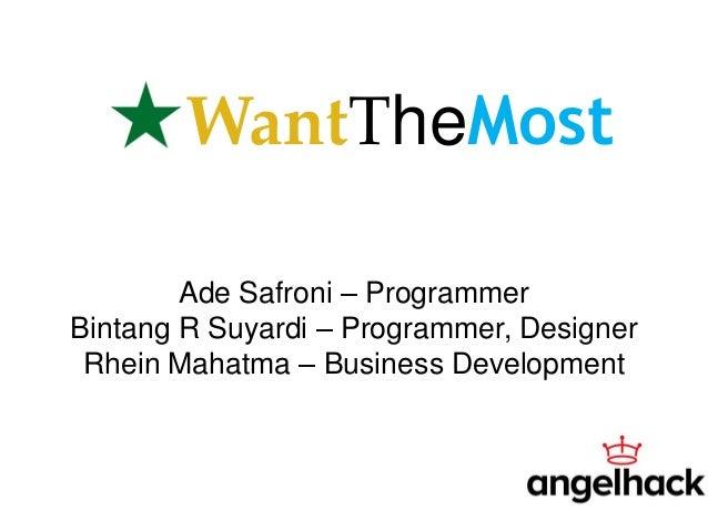 WantTheMostAde Safroni – ProgrammerBintang R Suyardi – Programmer, DesignerRhein Mahatma – Business Development