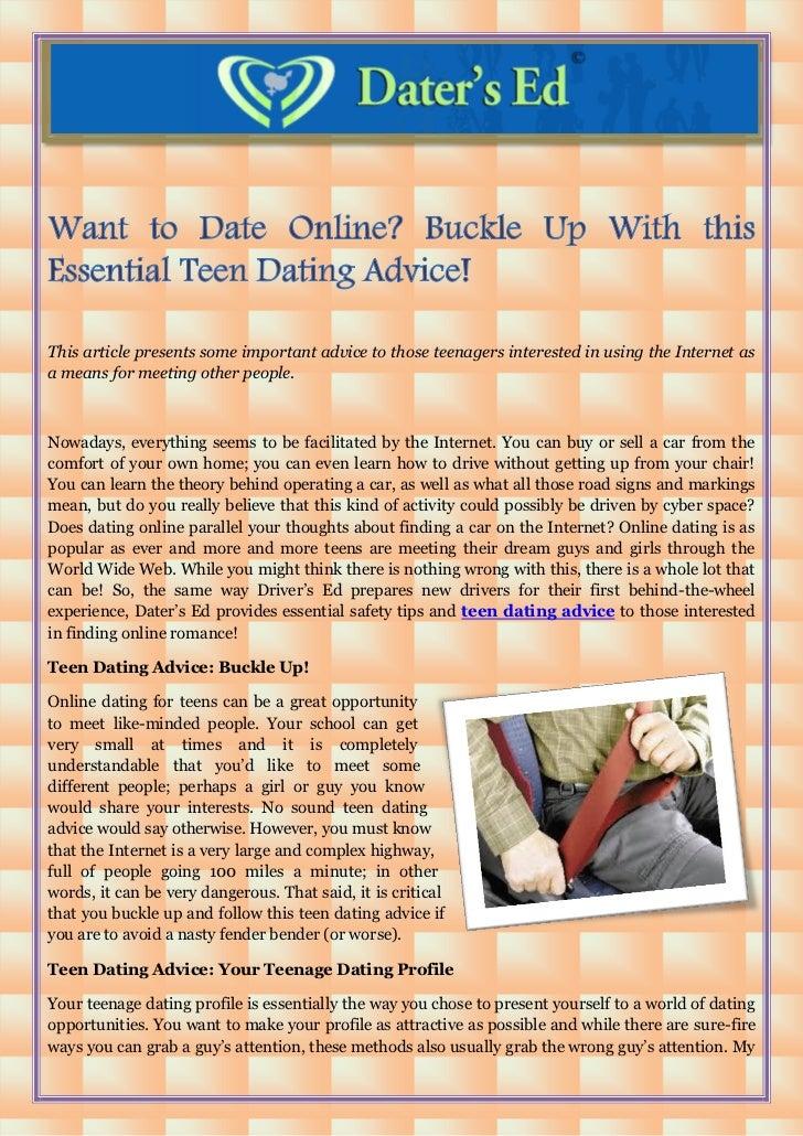 dating advice for teen guys dating online