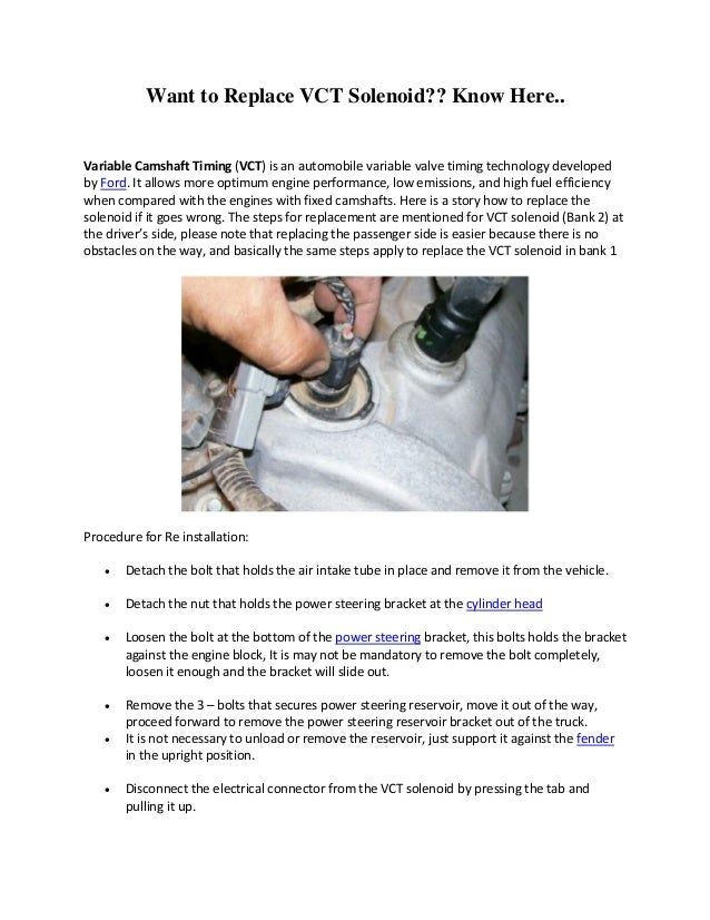 Want to replace?? vct solenoid know here