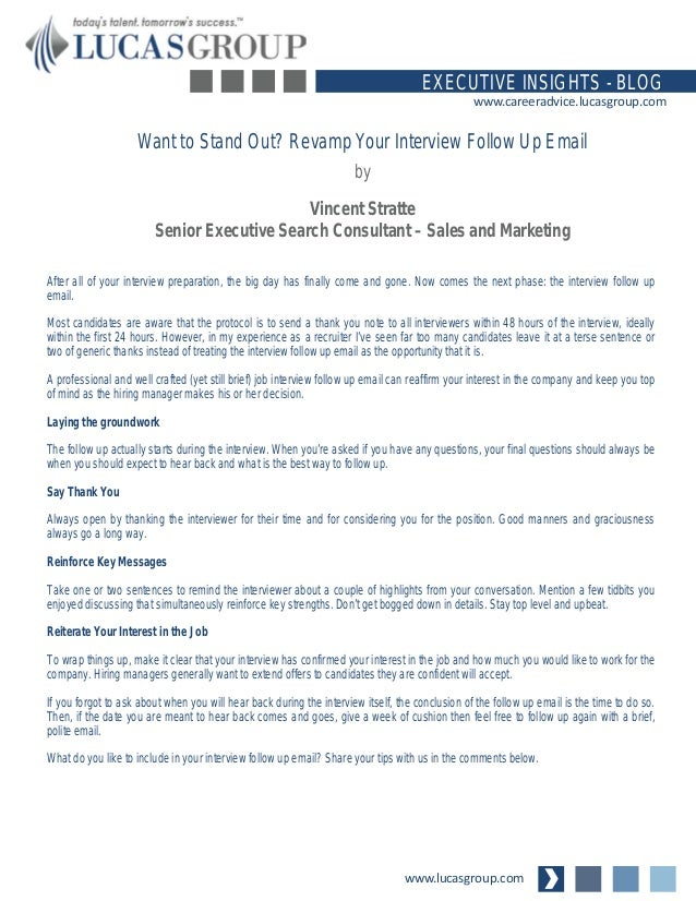 want to stand out revamp your interview follow up email