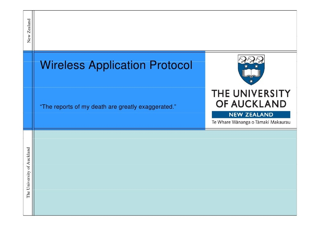 New Zealand      w                             Wireless Application P t                             Wi l     A li ti Proto...
