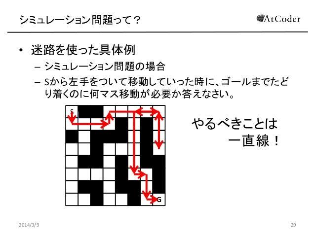 シミュレーション問題って?  • 迷路を使った具体例 – シミュレーション問題の場合 – Sから左手をついて移動していった時に、ゴールまでたど り着くのに何マス移動が必要か答えなさい。 S  やるべきことは 一直線!  G 2014/3/9  ...