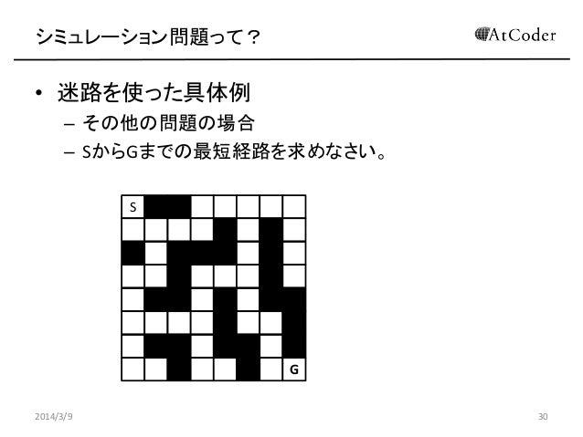 シミュレーション問題って?  • 迷路を使った具体例 – その他の問題の場合 – SからGまでの最短経路を求めなさい。 S  G 2014/3/9  30