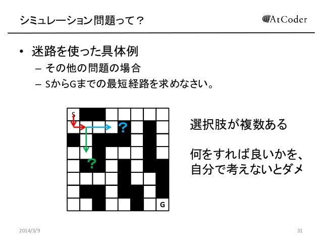 シミュレーション問題って?  • 迷路を使った具体例 – その他の問題の場合 – SからGまでの最短経路を求めなさい。 S  選択肢が複数ある  ?  何をすれば良いかを、 自分で考えないとダメ  ? G 2014/3/9  31