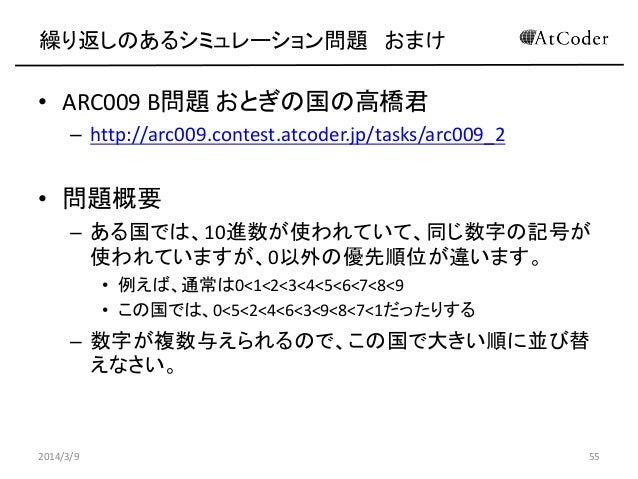 繰り返しのあるシミュレーション問題 おまけ  • ARC009 B問題 おとぎの国の高橋君 – http://arc009.contest.atcoder.jp/tasks/arc009_2  • 問題概要 – ある国では、10進数が使われてい...