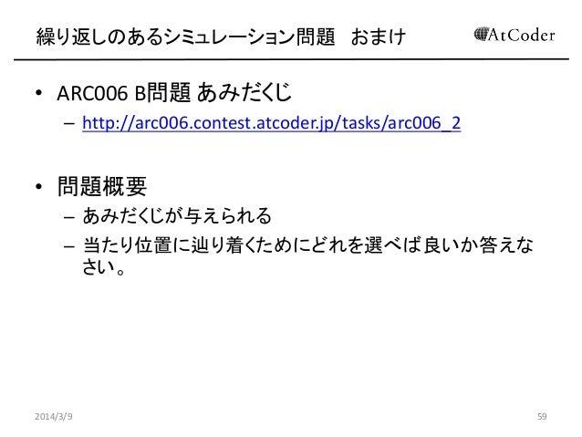 繰り返しのあるシミュレーション問題 おまけ  • ARC006 B問題 あみだくじ – http://arc006.contest.atcoder.jp/tasks/arc006_2  • 問題概要 – あみだくじが与えられる – 当たり位置に...