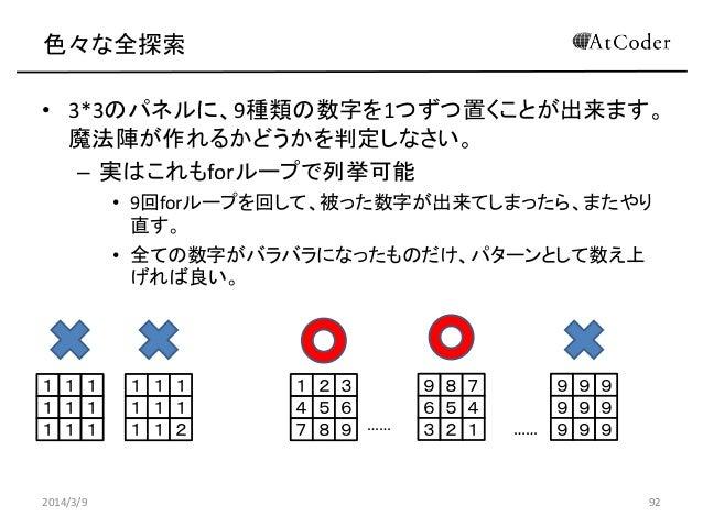 色々な全探索 • 3*3のパネルに、9種類の数字を1つずつ置くことが出来ます。 魔法陣が作れるかどうかを判定しなさい。 – 実はこれもforループで列挙可能 • 9回forループを回して、被った数字が出来てしまったら、またやり 直す。 • 全て...