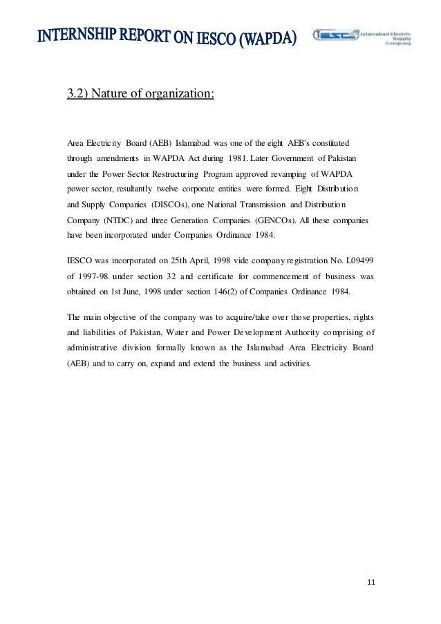 internship report on IESCO Wapda final project 2014