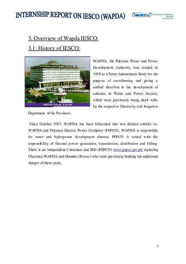 internship report on IESCO Wapda final project 2014