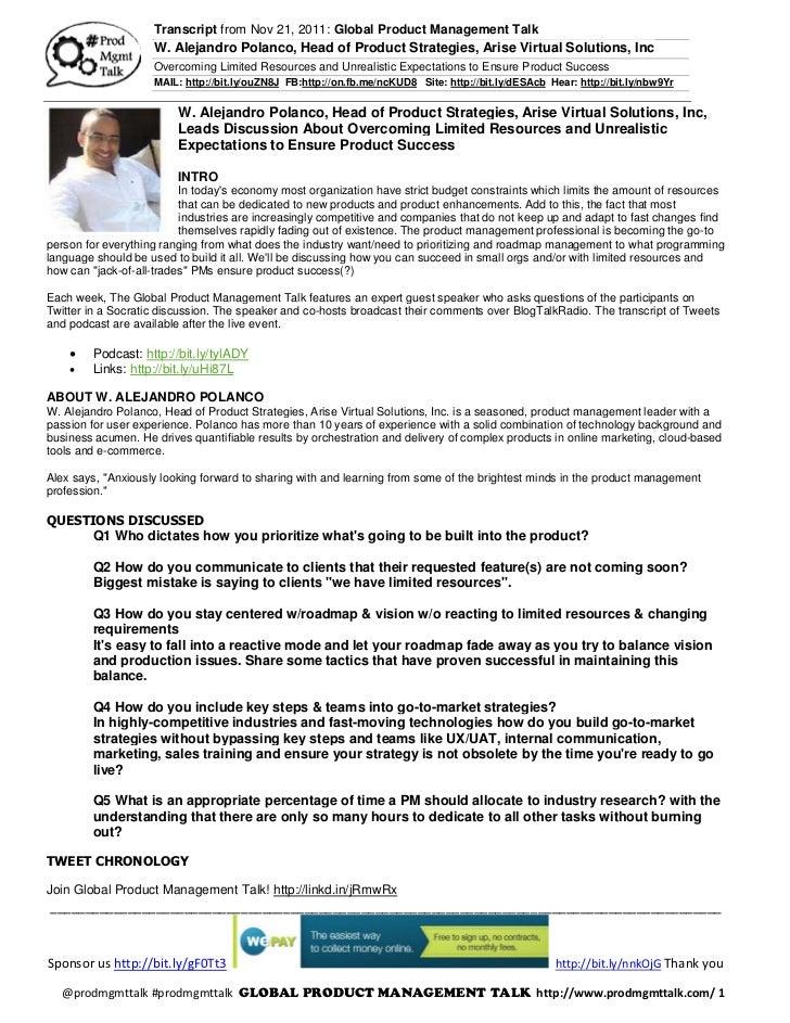 Transcript from Nov 21, 2011: Global Product Management Talk                    W. Alejandro Polanco, Head of Product Stra...