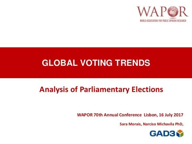 GLOBAL VOTING TRENDS WAPOR 70th Annual Conference Lisbon, 16 July 2017 Sara Morais, Narciso Michavila PhD, Analysis of Par...