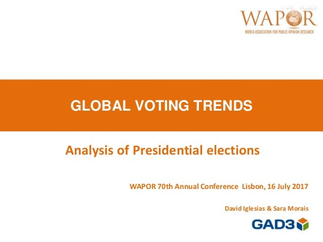 GLOBAL VOTING TRENDS WAPOR 70th Annual Conference Lisbon, 16 July 2017 David Iglesias & Sara Morais Analysis of Presidenti...