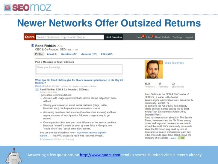 Newer Networks Offer Outsized Returns<br />Answering a few questions on http://www.quora.com send us several hundred visit...