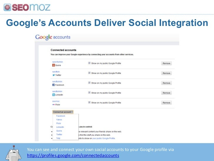 Google's Accounts Deliver Social Integration<br />You can see and connect your own social accounts to your Google profile ...