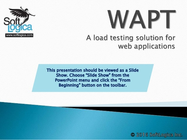 "A load testing solution for web applications This presentation should be viewed as a Slide Show. Choose ""Slide Show"" from ..."
