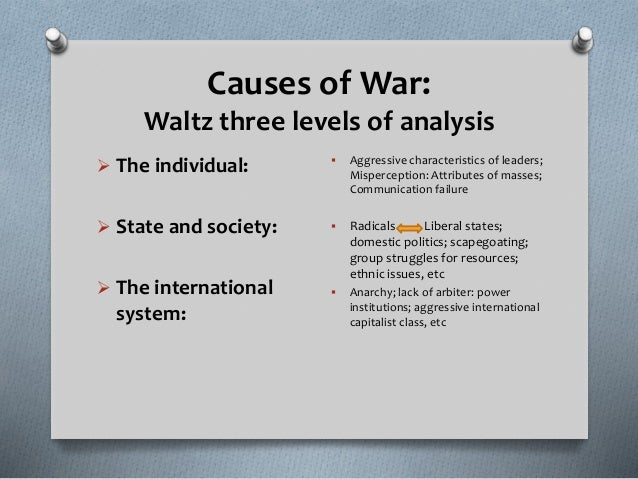 a look at three levels of analysis of the international relations Levels of analysis of the international system  introduction to international relations, published by ashgate  suggests that there are three levels of analysis.