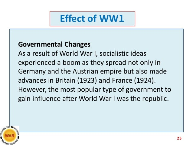 The technological advances that affect the outcome of world war one and two