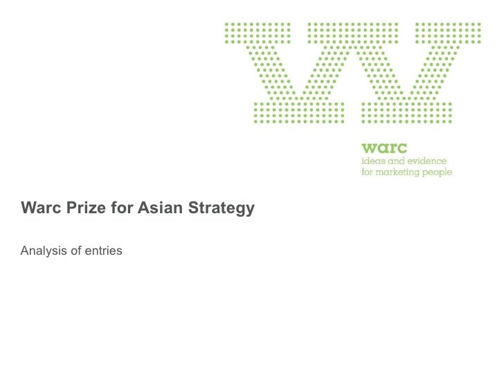 Warc Prize for Asian Strategy Analysis of entries