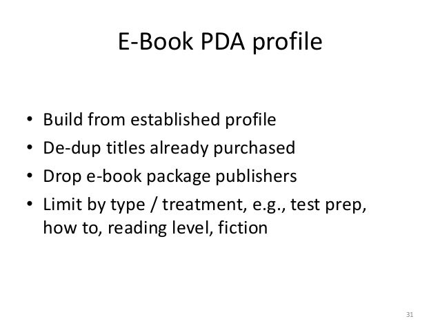 E-Book PDA profile • Build from established profile • De-dup titles already purchased • Drop e-book package publishers • L...