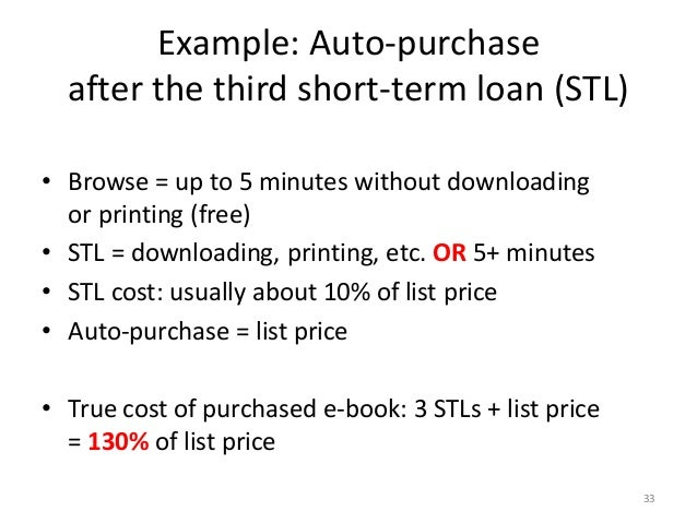 Example: Auto-purchase after the third short-term loan (STL) • Browse = up to 5 minutes without downloading or printing (f...
