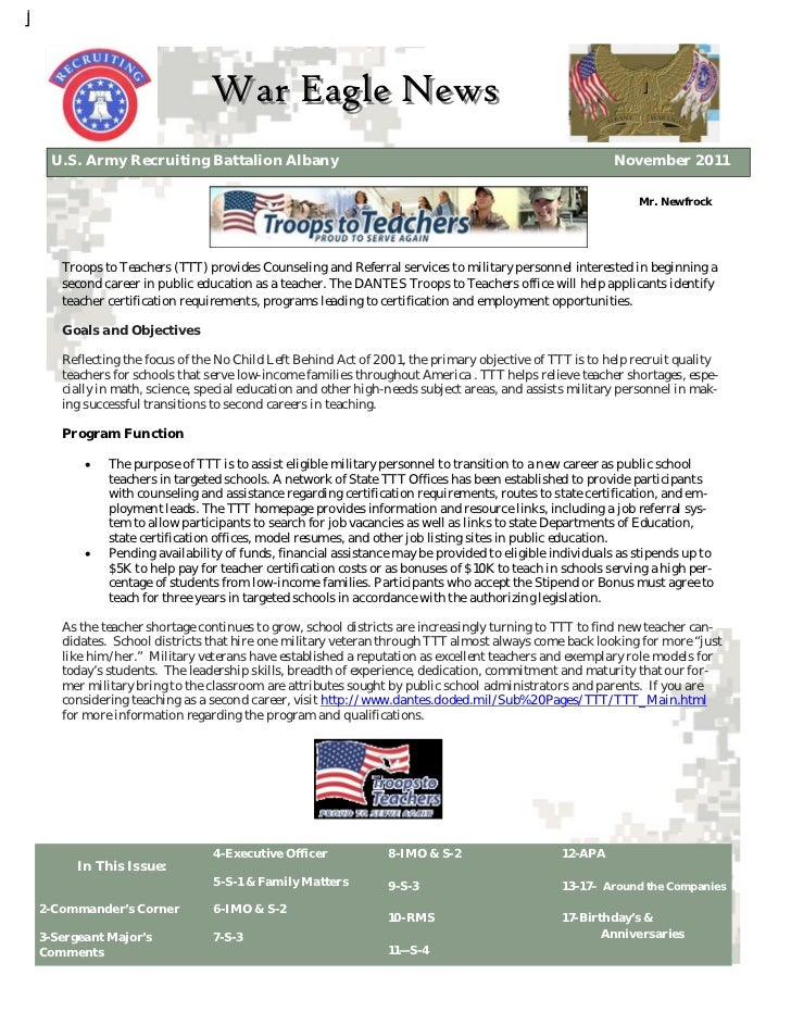 War Eagle News U.S. Army Recruiting Battalion Albany                                                                Novemb...