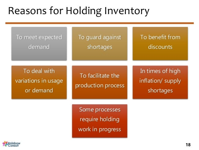 reasons for holding inventories Too much safety stock can result in high holding costs of inventory in addition, products which are stored for too long a time can spoil, expire, or break during the warehousing process reasons for keeping safety stock.