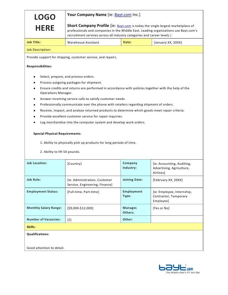 LOGO HEREYour Company Name [ie: Bayt.com Inc.]Short Company Profile  Warehouse Assistant Job Description ...