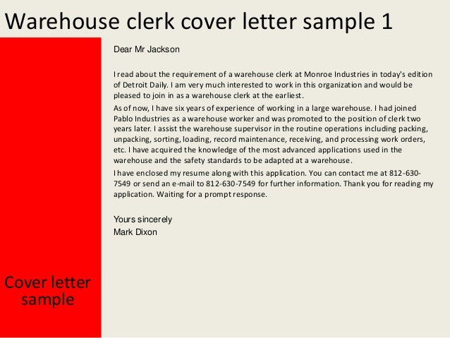 warehouse clerk cover letter - Rama.ciceros.co