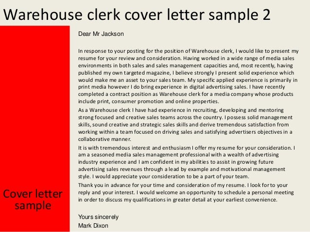 Warehouse clerk cover letter for Cover letter for a warehouse position