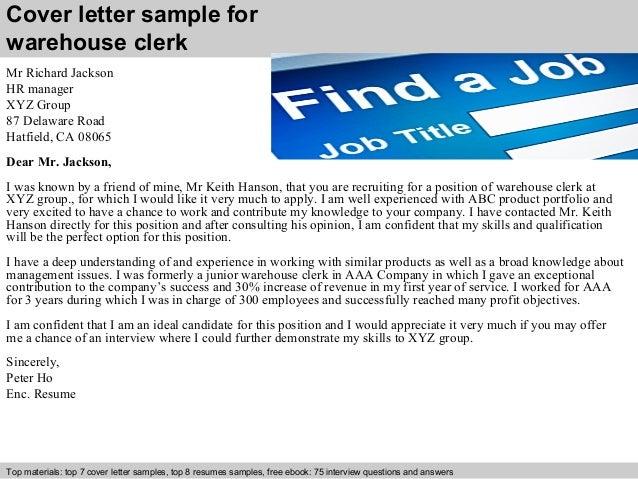 Warehouse clerk cover letter