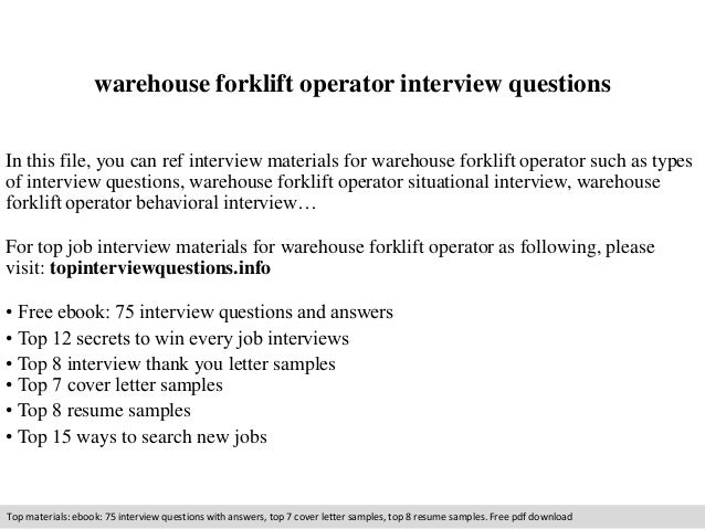 warehouse forklift operator interview questions in this file you can ref interview materials for warehouse