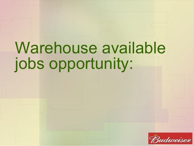 Warehouse Available Jobs Opportunity