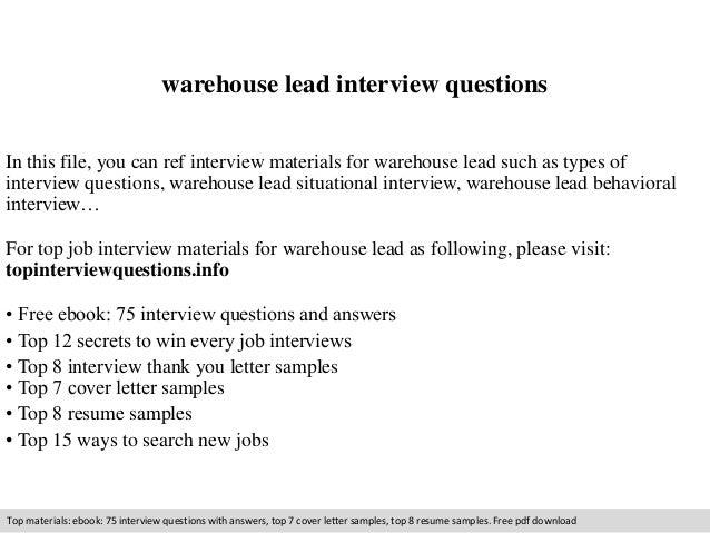 Warehouse Lead Job Description   Warehouse Lead Interview Questions
