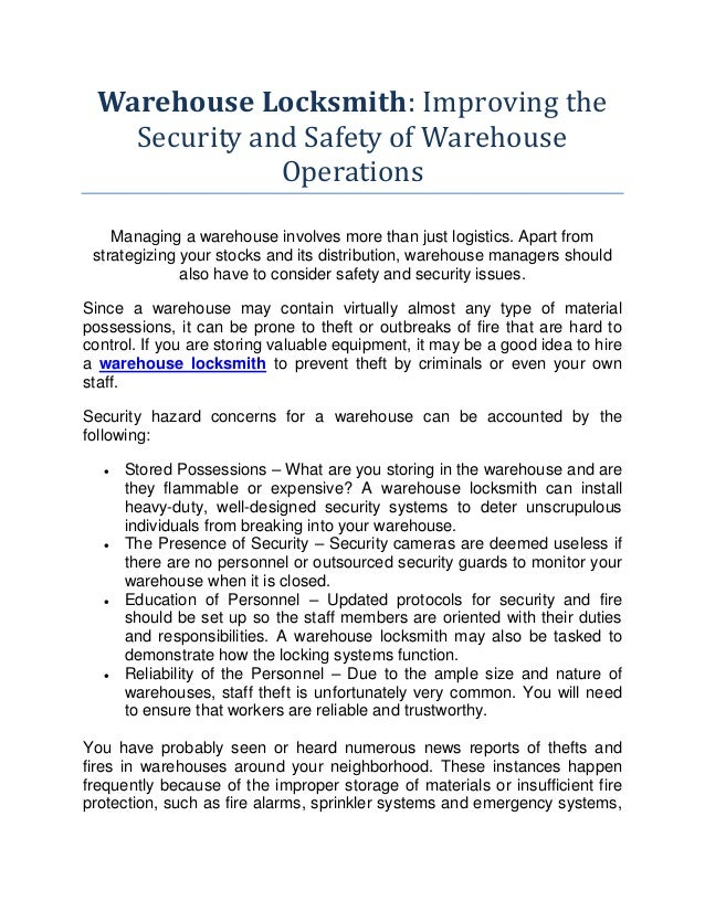 Essay Warehouse Warehouse Specialist Cover Letter The Warehouse Warehouse  Locksmith Improving The Security And Safety Of