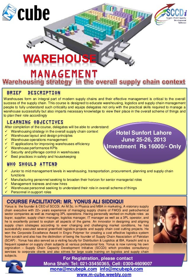Warehouses form an integral part of modern supply chains and their effective management is critical to the overallsuccess ...