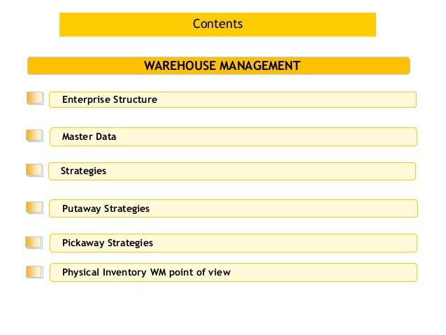 Contents                 WAREHOUSE MANAGEMENTEnterprise StructureMaster DataStrategiesPutaway StrategiesPickaway Strategie...