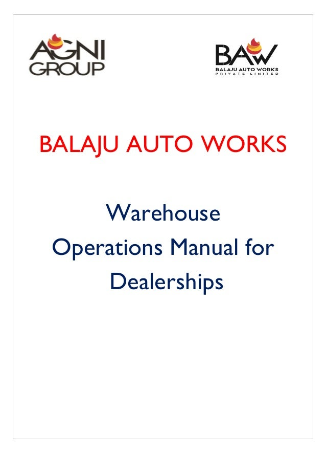 BALAJU AUTO WORKS Warehouse Operations Manual for Dealerships