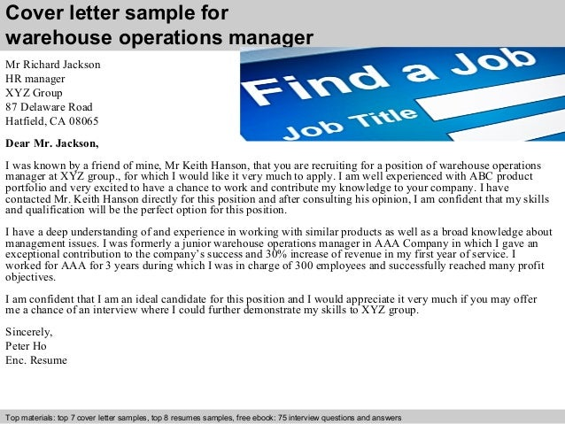 Cover Letter Sample For Warehouse Operations Manager ...
